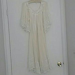 VTG Goddess dress of cotton gauze ribbons 2sz🌈